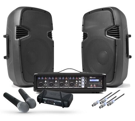 Karaoke Ljudpaket med Mixer 2xtrådlösa mikrofoner och 2st 12