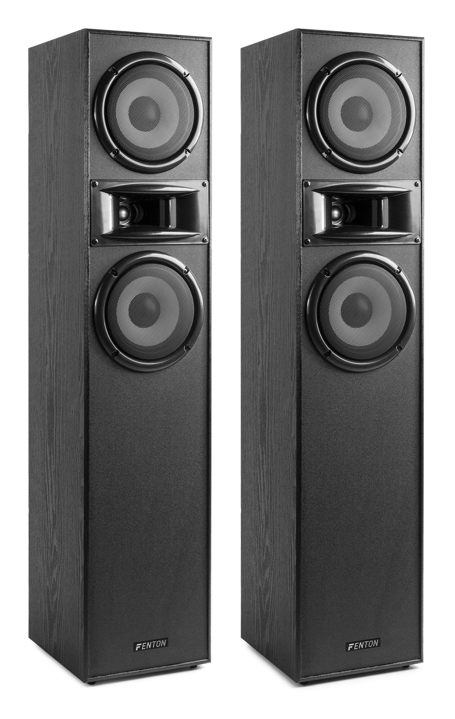 """Fenton SHF700B Golvhögtalare högtalarset, 2 X 6,5"""", svart"""
