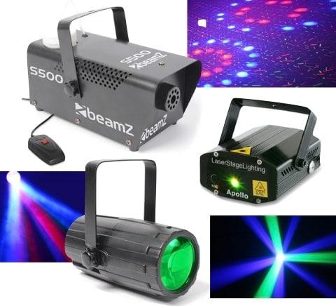 Beamz Light Package 3: Moon+Laser R/G+S500Fog