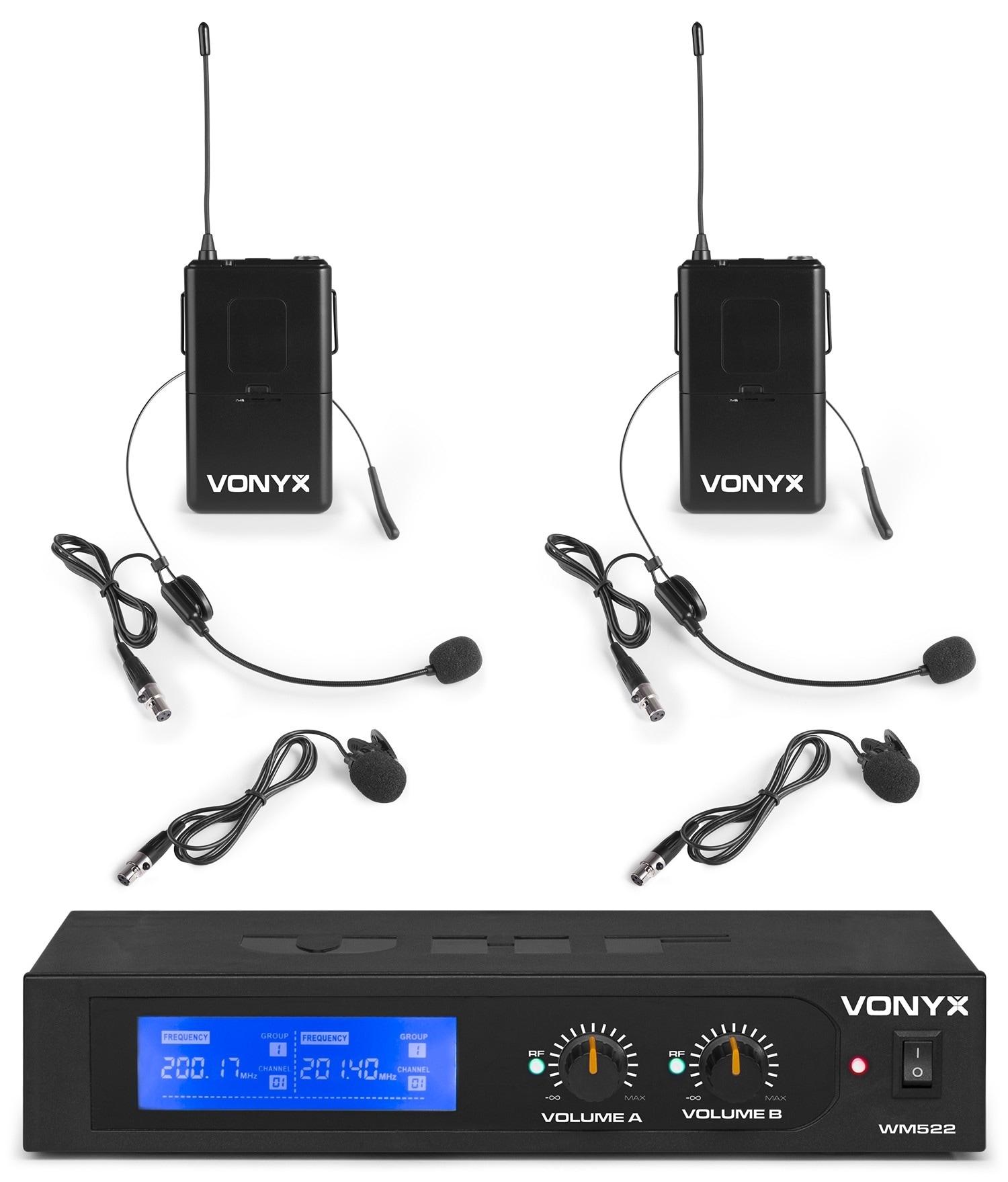 Vonyx WM522B Trådlöst mikrofonsystemVHF 2CH 2BP+headset
