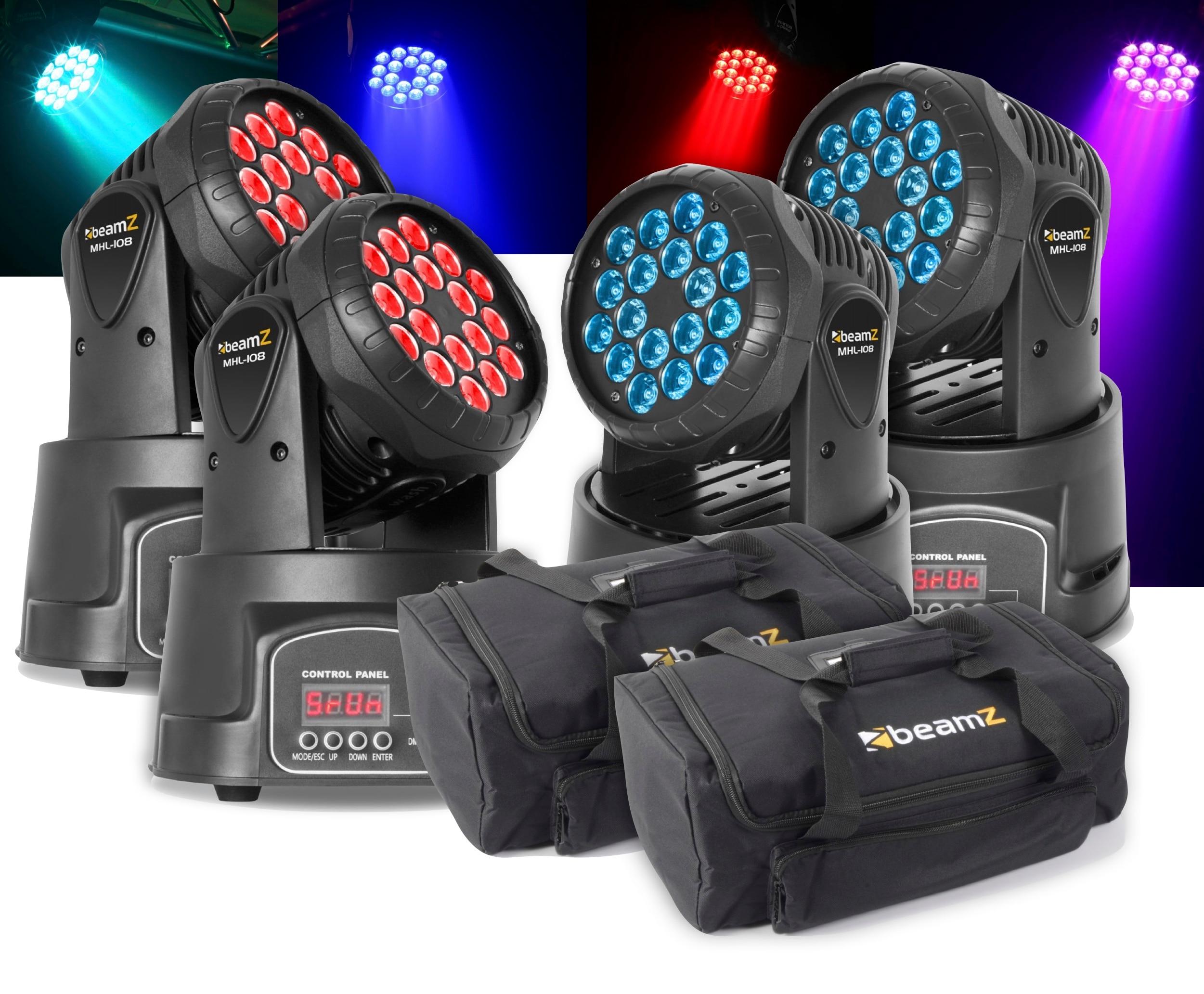 4-pack + 2st bag BeamZ MHL108MK3 Mini Moving Head 18x 3W 3-in-1 RGB LEDs