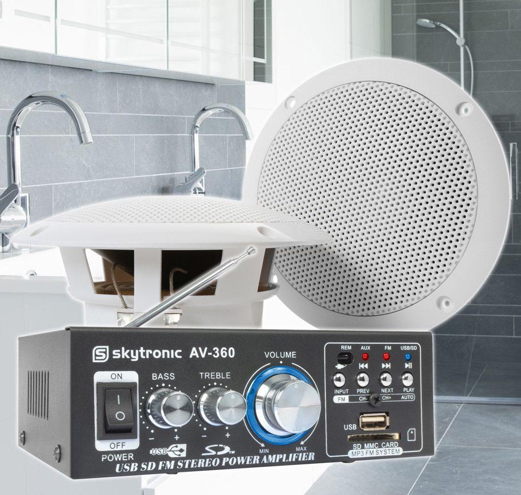 """SkyTronic BS05 vattentäta högtalare badrum 5"""" med förstärkare"""