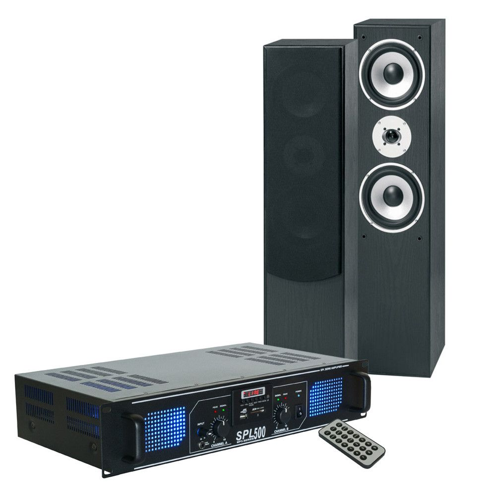 SkyTronic stereo system with amplifier, speakers & cable