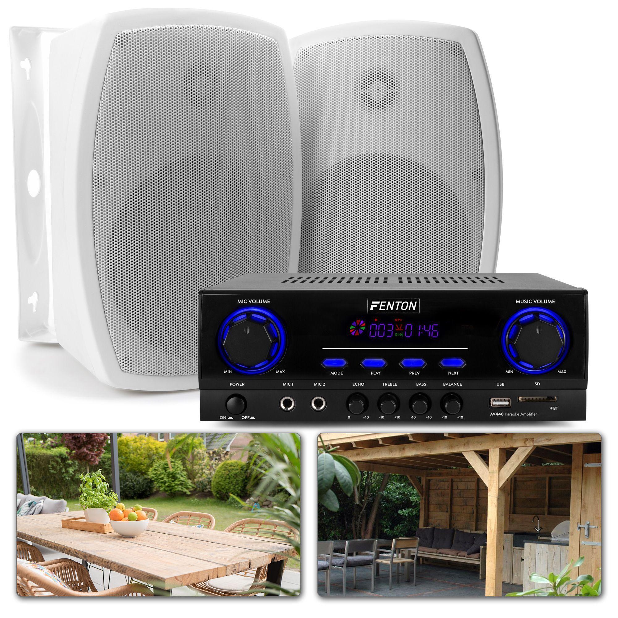Terrass och veranda ljudpaket - Bluetooth-förstärkare, högtalare och kablar