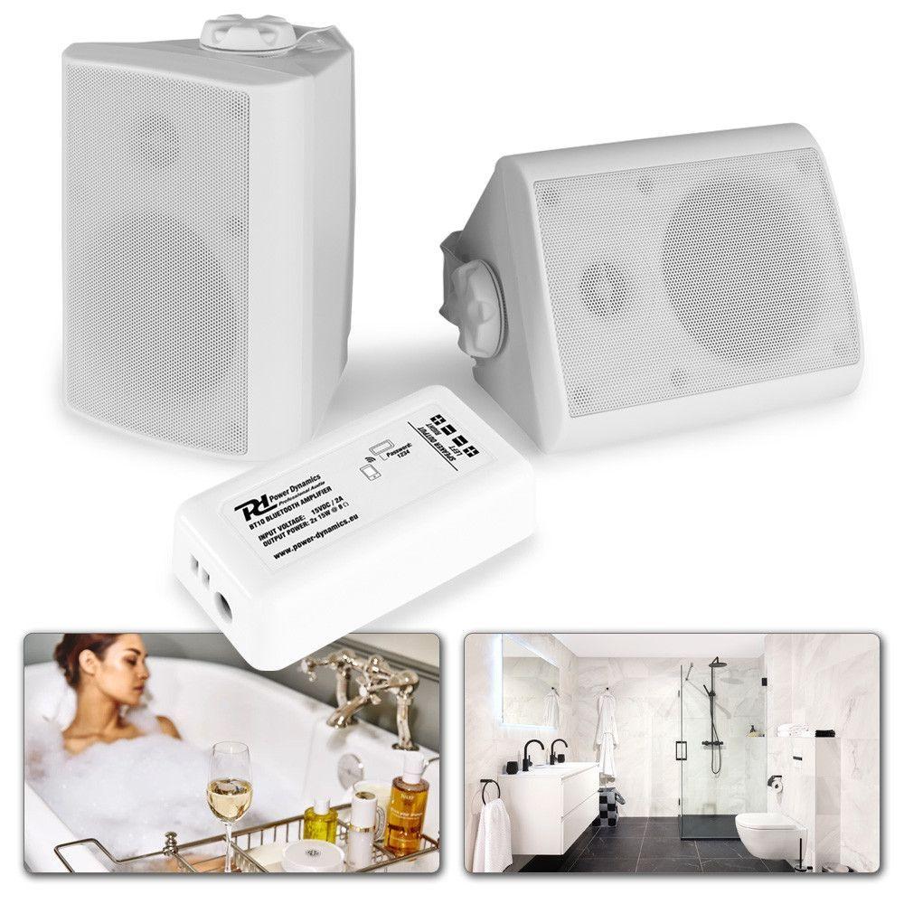 """Bluetooth-högtalarset väggmonterad 4 """"för trädgård och terrass - vit"""