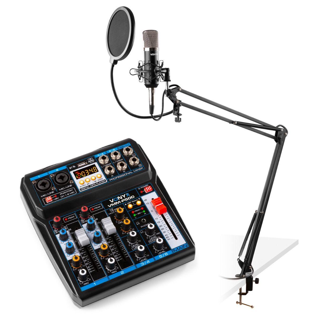 Vonyx podcast/livesändning-startpaket med mixer VMM-P500, CMS400 studiomikrofon och mikrofonarm