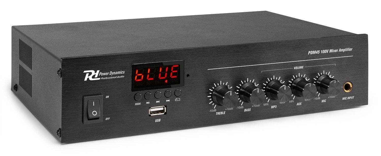 Power Dynamics PDM45 100V Mixer, Förstärkare,45W BT/MP3