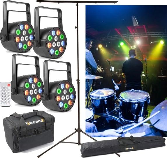 Ljuspaket 4-pack med stativ och softbags BeamZ PLS25 Par