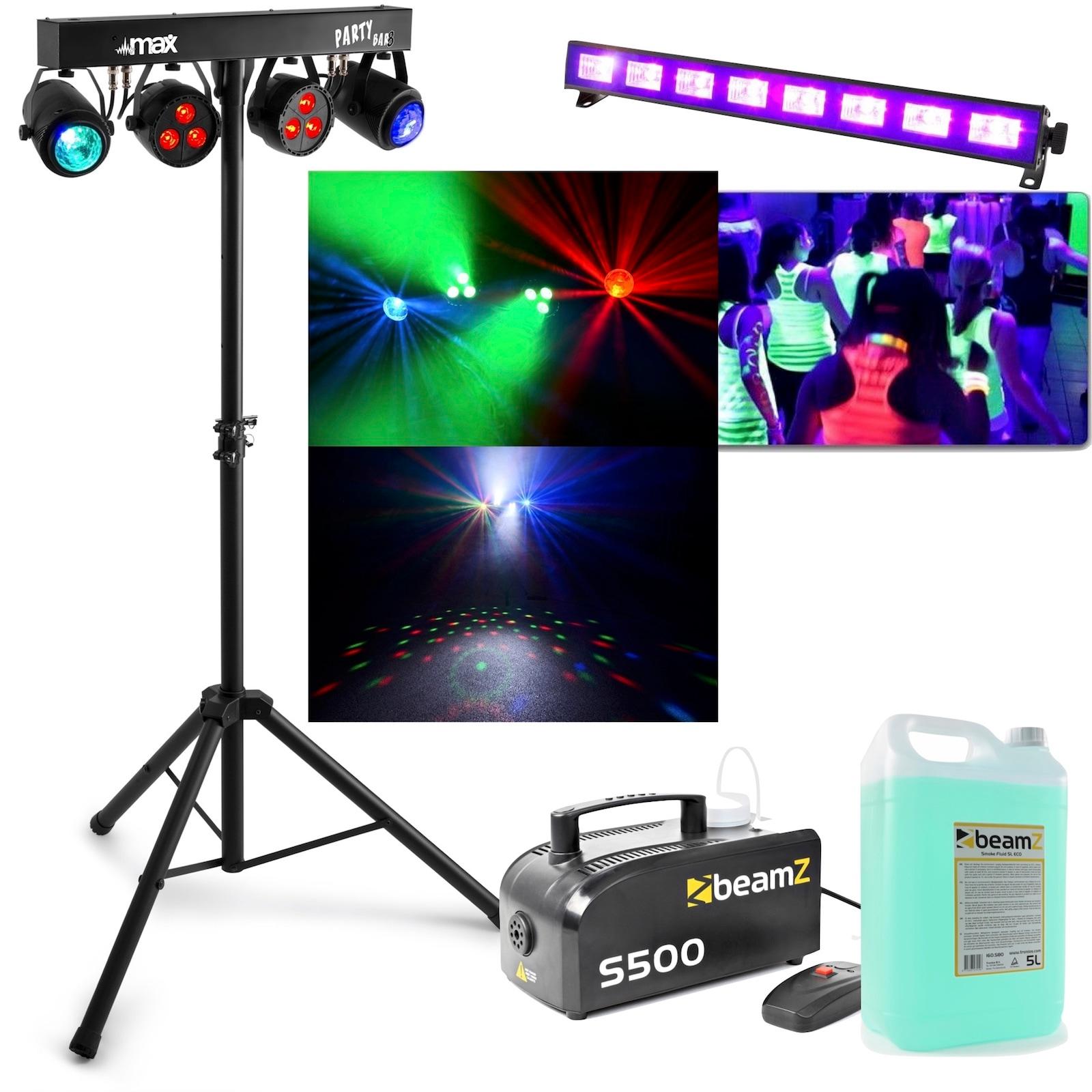 Ljuspaket för disco och party MAX PartyBar08 med rökmaskin och UV