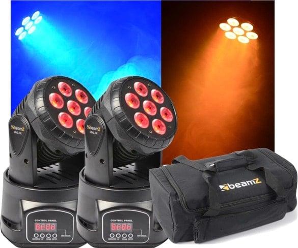 Paket 2st MHL74 Mini Moving Head 7x 10W 4-in-1 LED + case