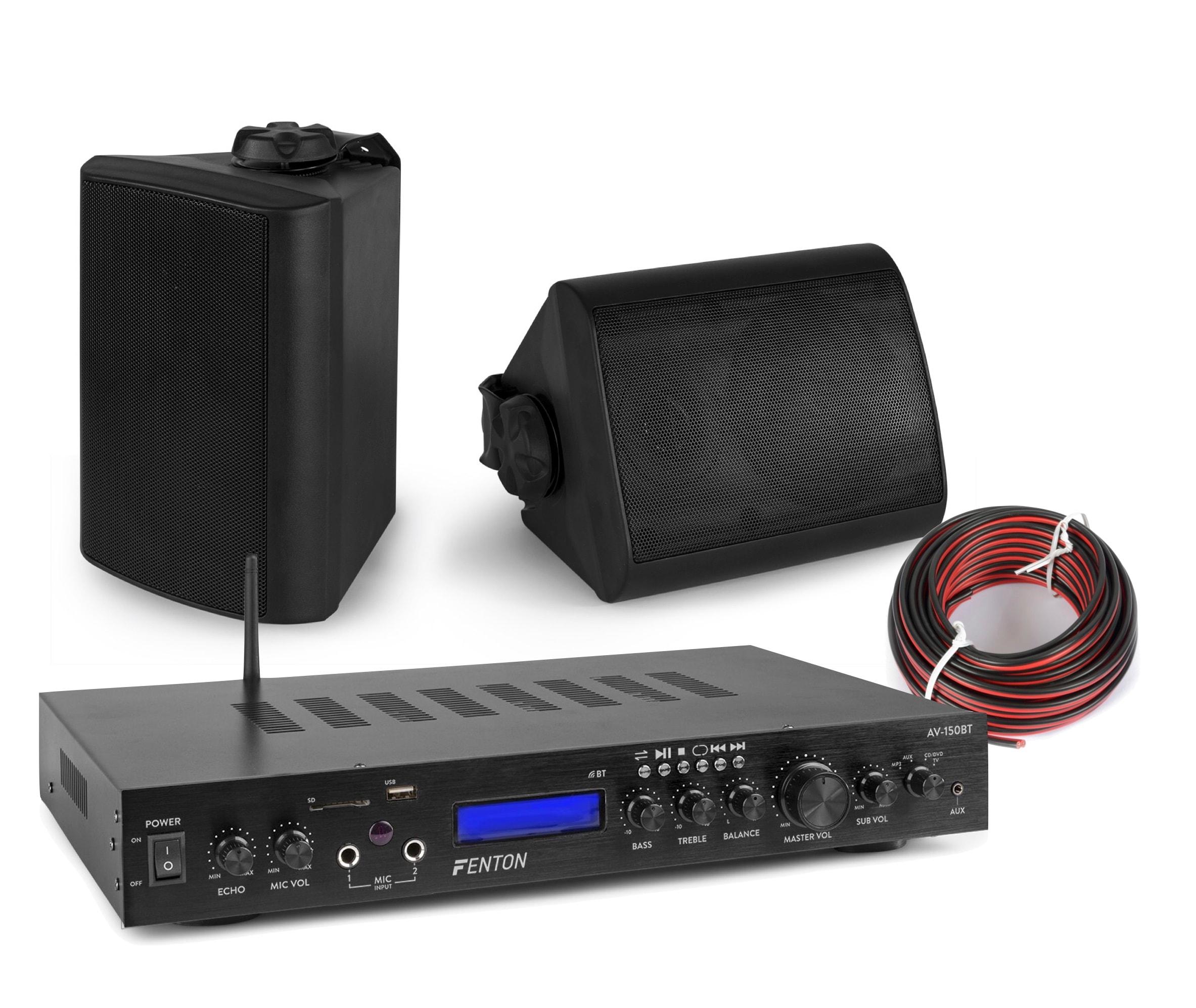 Ljudpaket med Bluetooth förstärkare och 2st vägghögtalare Fenton AV-150BT BGO40