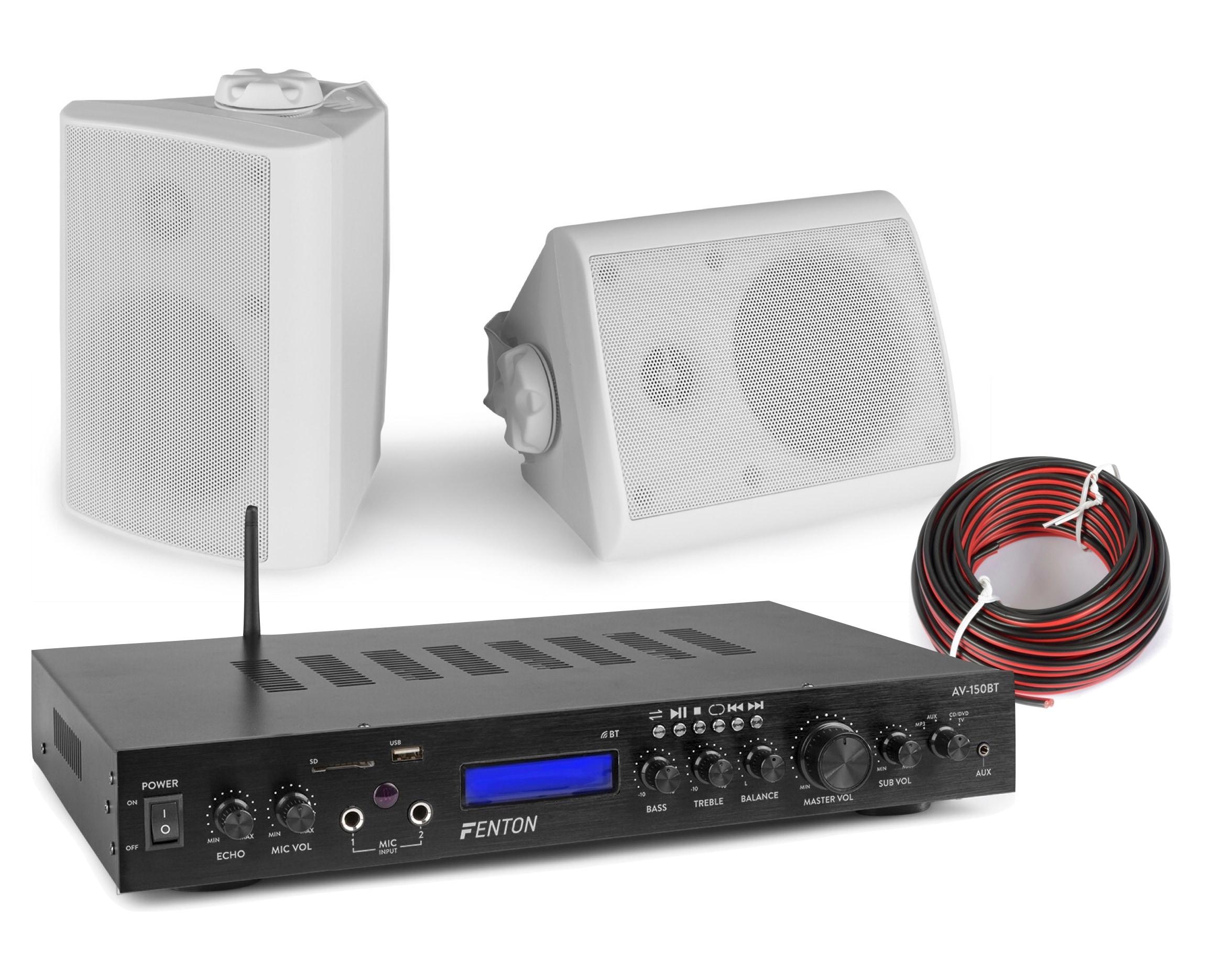 Ljudpaket med Bluetooth förstärkare och 2st vita vägghögtalare Fenton AV-150BT BGO40V