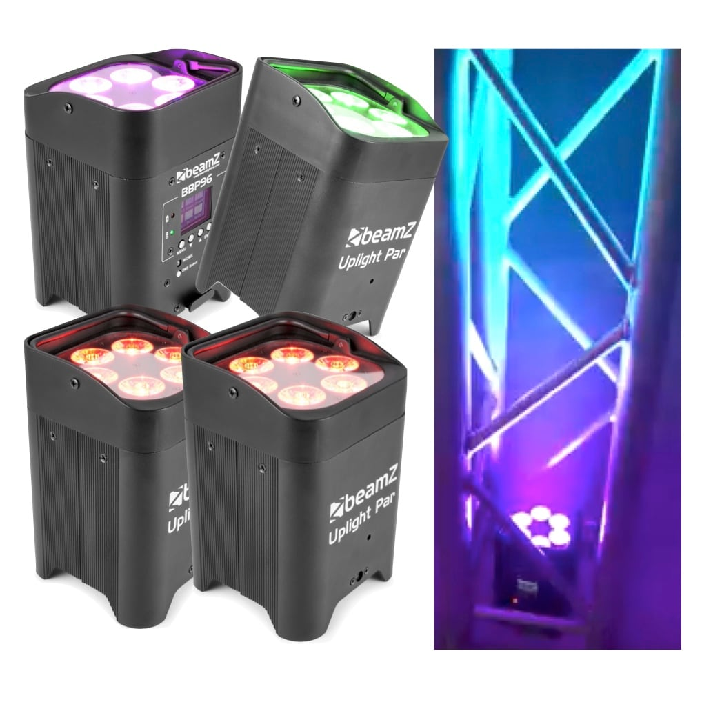 Färgsättningspaket med 4x Beamz BBP96 Uplight Par 6x12W 6inRGBWA-UV Libatt DMX IRC