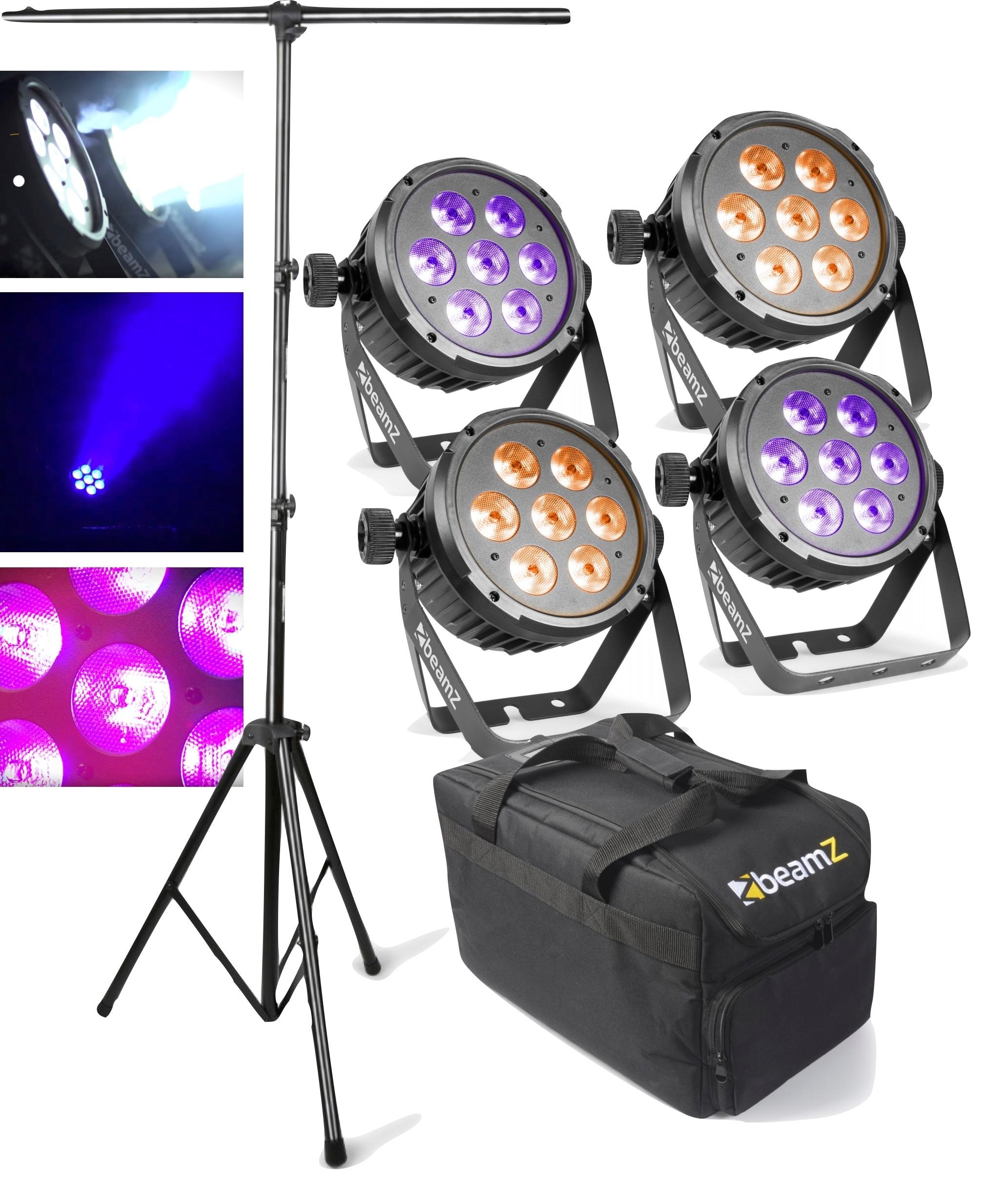 Ljuspaket med stativ + case + 4st Beamz BT280 LED Flat Par 7 x 10W RGBWA-UV 6-1 DMX IRC