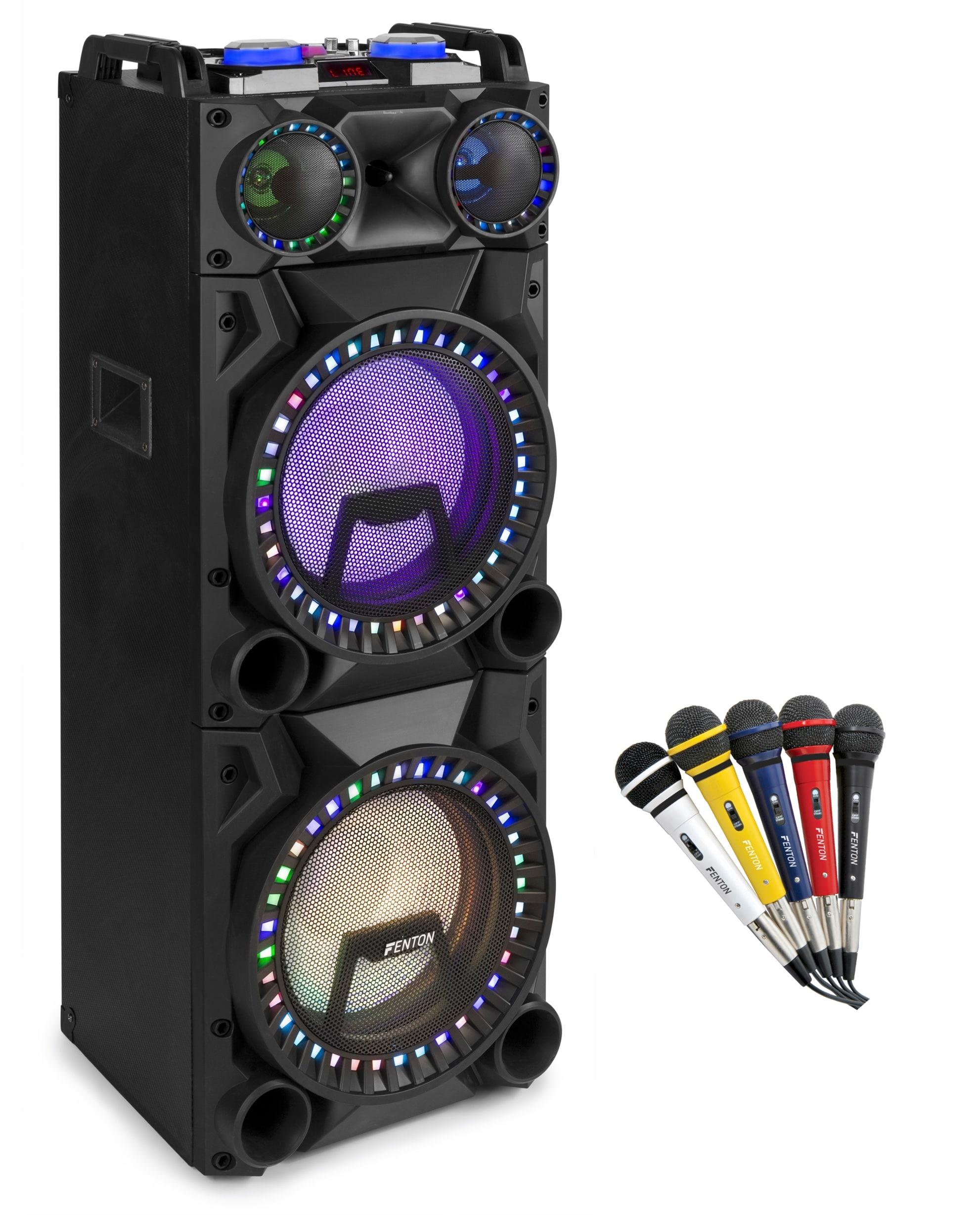 Karaoke paket med 5st mikrofoner och högtalare Fenton VS212 Act Speaker 2x12' BT, USB,LED