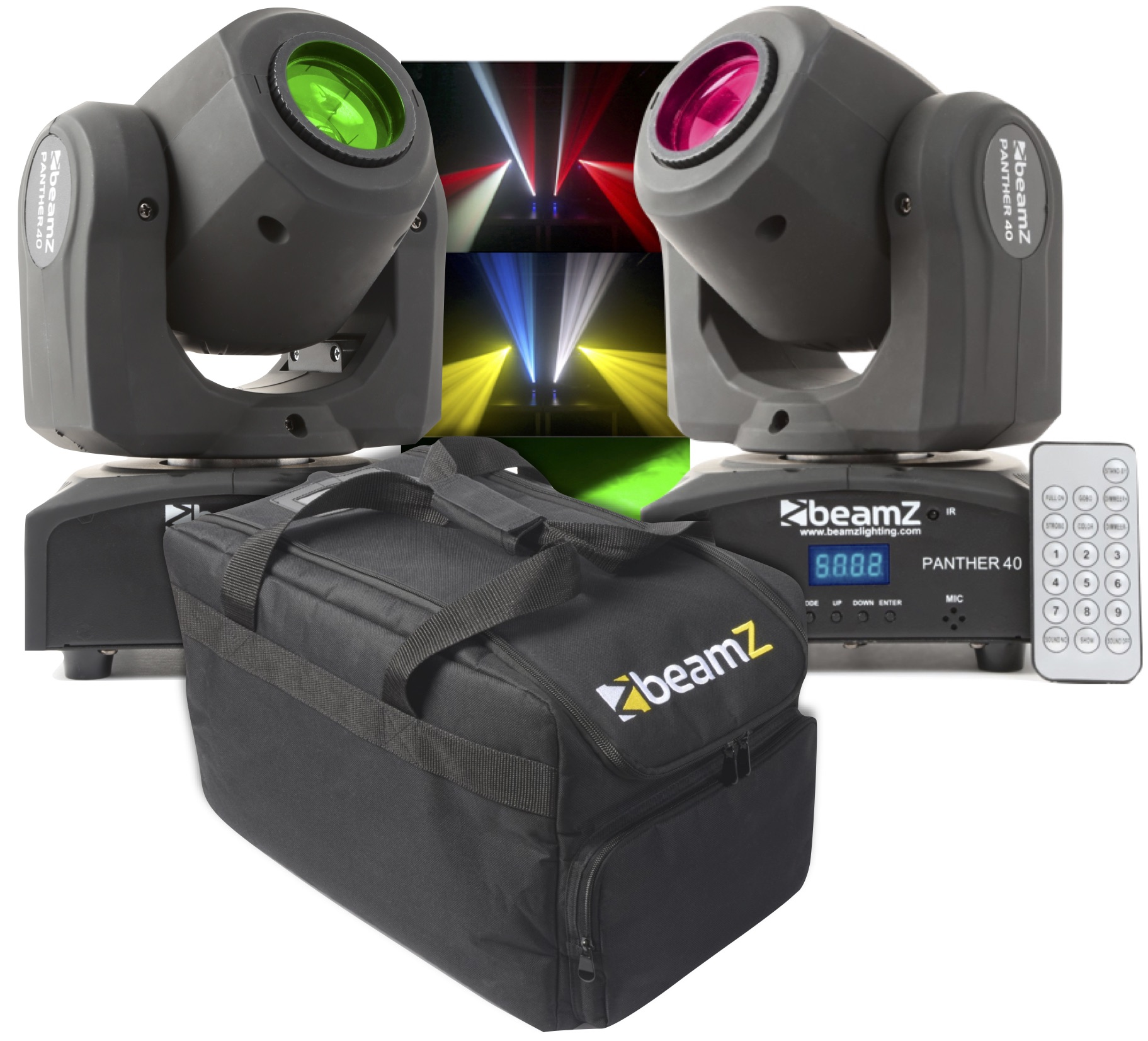 2-pack med case BeamZ Panther 40 Led Spot Moving Head IRC