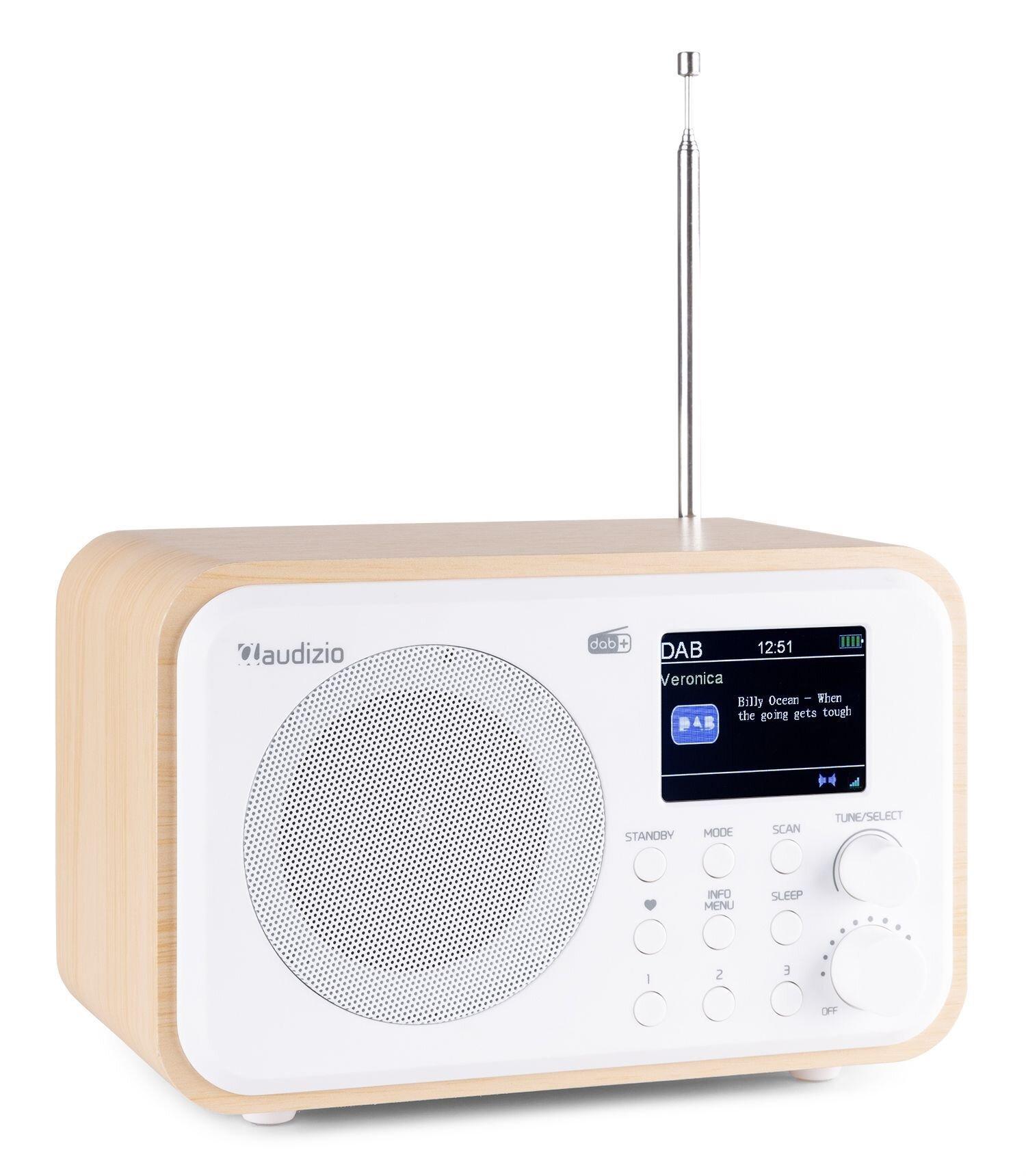 Audizio Milan bärbar DAB-radio med Bluetooth, FM-radio och batteri - vit färgad