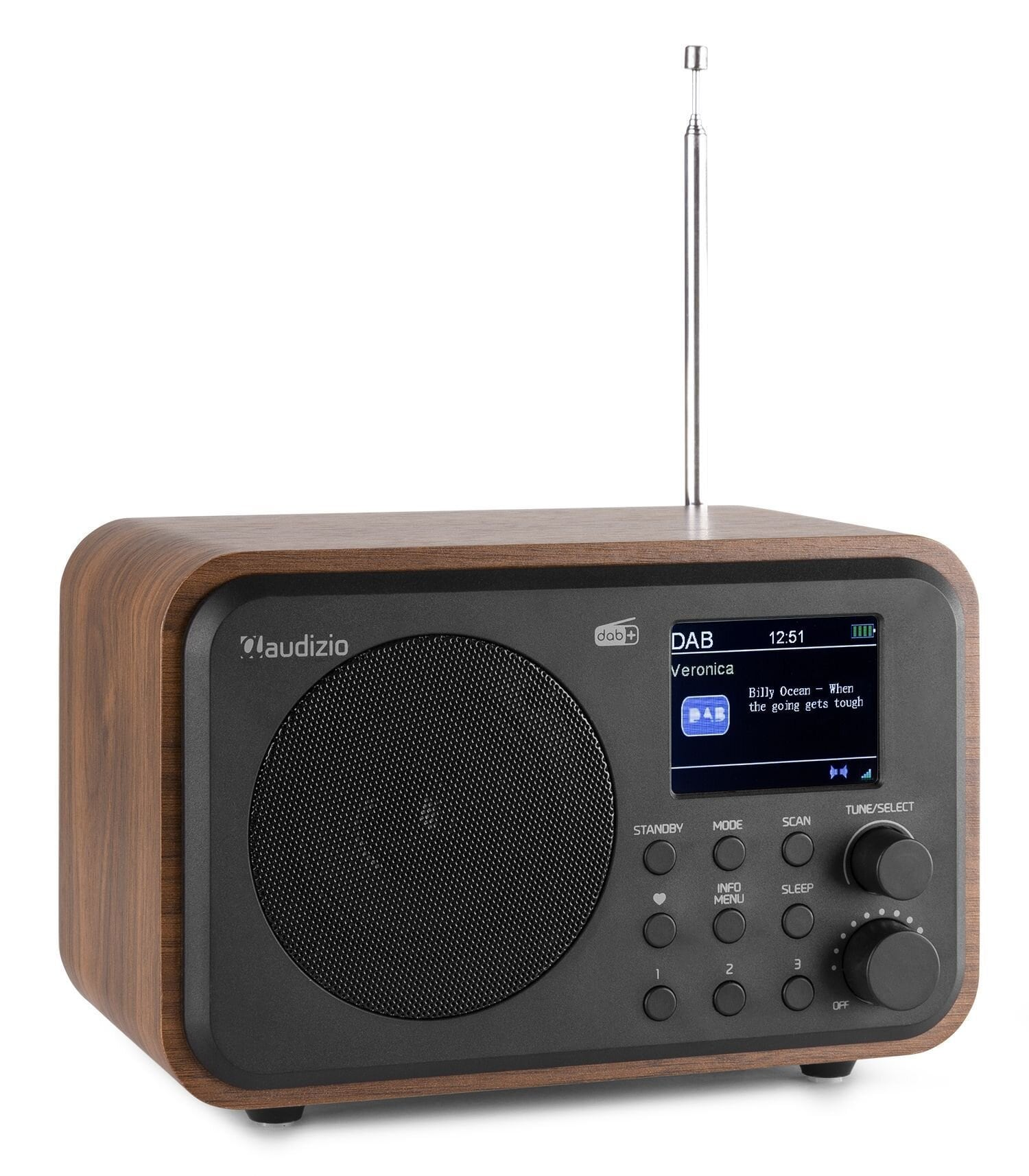 Audizio Milan bärbar DAB-radio med Bluetooth, FM-radio och batteri - Trä färgad