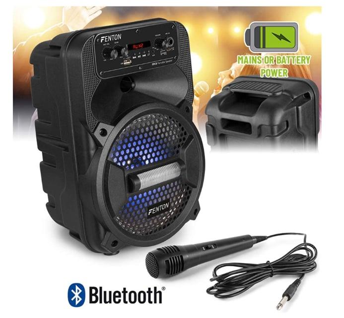 """Fenton FPC8 Portable 8""""Speaker. BT, Batt,"""