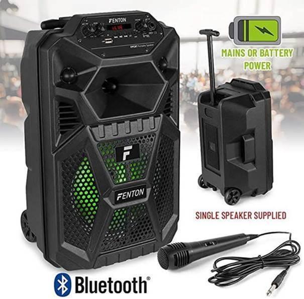 """Fenton FPC8T Portable 8"""" LED Speaker. BT4."""