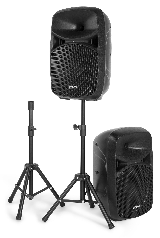 """Vonyx VPS102A aktivt högtalarset, 10""""LED & Stands"""