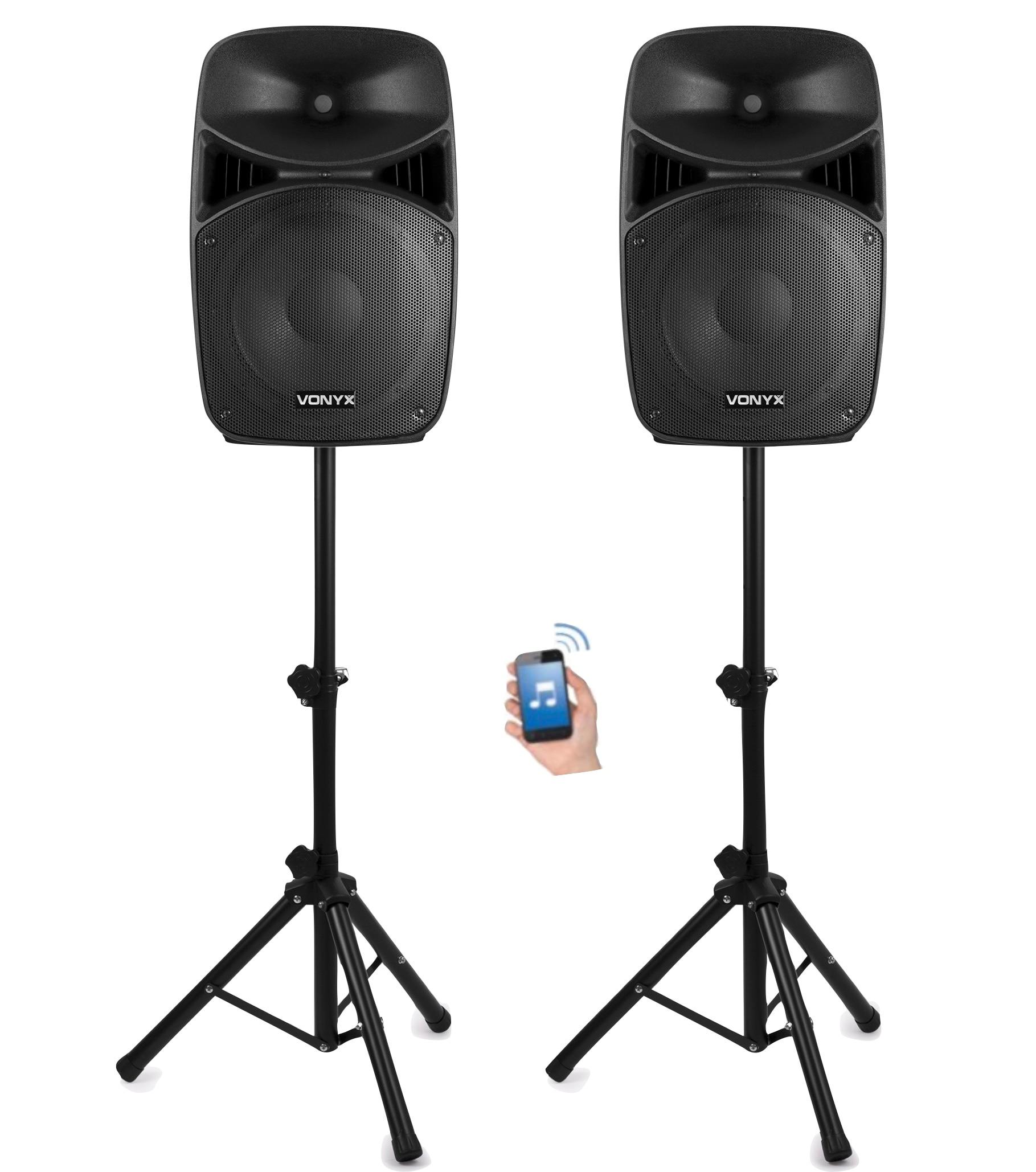 "Vonyx VPS152A Aktivt högtalarset, 15"", LED, Stativ, BT"