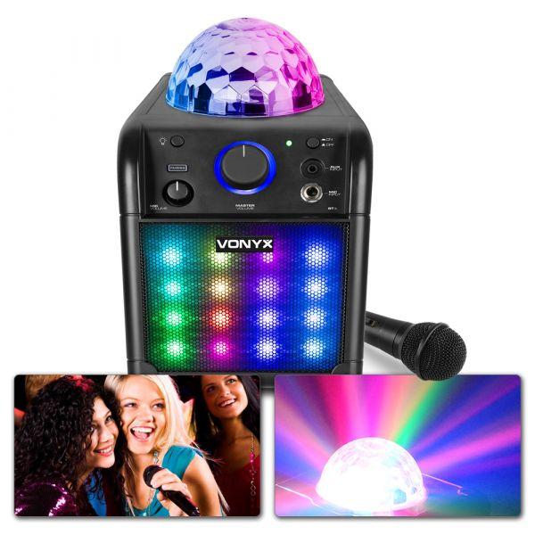 VONYX SBS50B-PLUS Karaoke Set svart färg, med inbyggt LED discoljus-effekt
