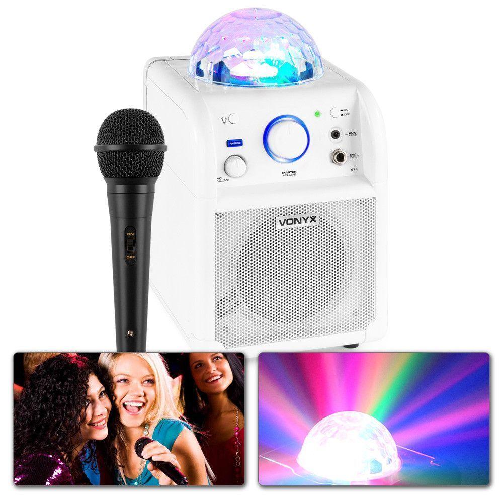 Vonyx SBS50W BT, partyhögtalare, Mikrofon, LED, Vit