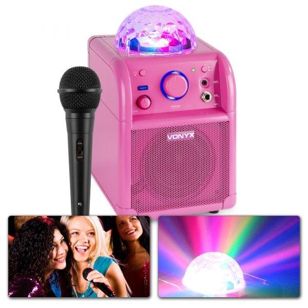 Vonyx SBS50P BT, Party högtalare, Mikrofon, LED, Rosa
