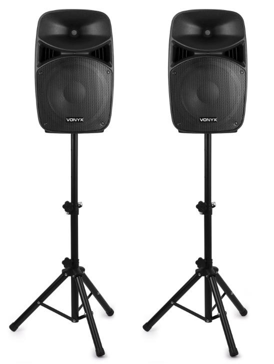"Vonyx VPS122A Aktivt högtalarset, 12"", LED, stativ"